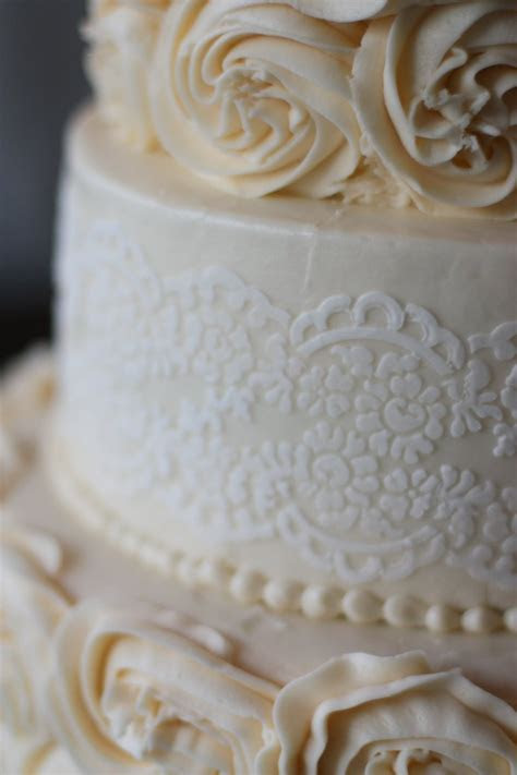 All Buttercream Rosette Cake With Lace Stencil On Middle