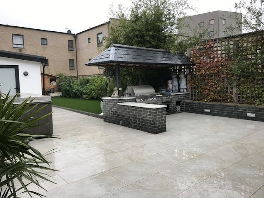 Porcelain Paving in Carshalton, Sutton, London - Contemporary - Paving, Stones & Walling - London - by Ayegardening Ltd