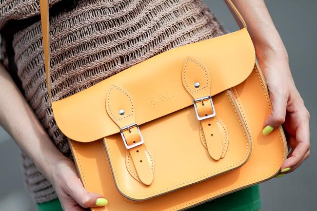 Yellow Leather Satchel bag Fashion
