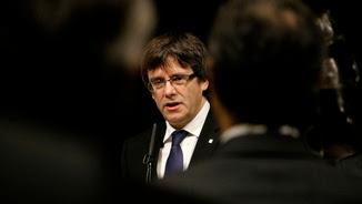 Carles Puigdemont aquest dimecres parlant davant dels cònsols a Barcelona (ACN)