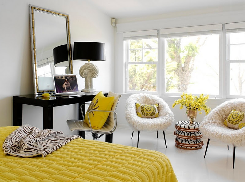 Bold Black And White Bedrooms With Bright Pops of Color