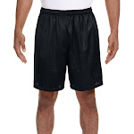 "N5293 A4 Men's 7"" Lined Tricot Mesh Plain Shorts Black Small 