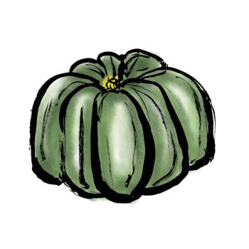 秋の野菜かぼちゃ南瓜イラスト墨絵
