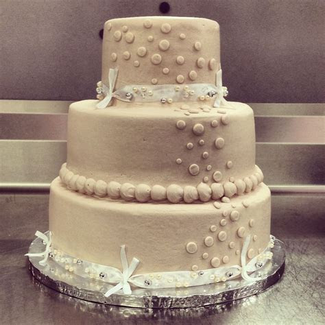 Basic Walmart wedding cake design. 3 tier. Champagne