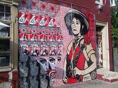 Shepard Fairey mural at Rocket Cat Cafe