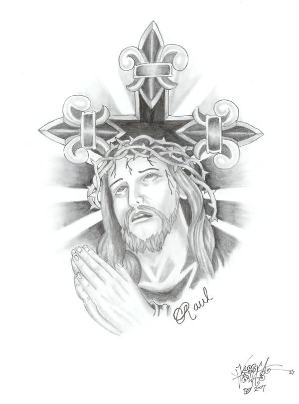 Praying Jesus Christ And Cross Tattoo Design