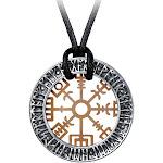 Alchemy Gothic Nordic Asgard Rune Pewter Pendant Cord Necklace - Medium