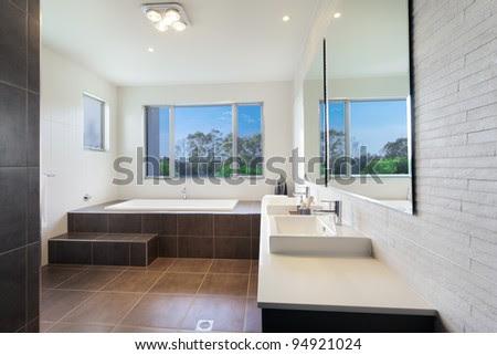 Modern Twin Bathroom With Stylish Bath Stock Photo 94921024 ...