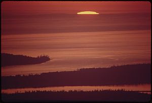 PUGET SOUND AND THE SAN JUAN ISLANDS AT SUNSET...
