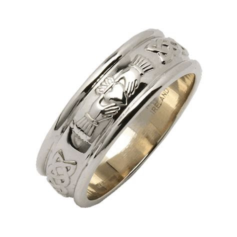 Mens Wide Rounded Claddagh Irish Wedding Ring Silver Irish