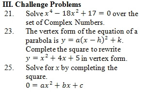 Completing The Square Worksheet Pdf With Answer Key 25 Questions