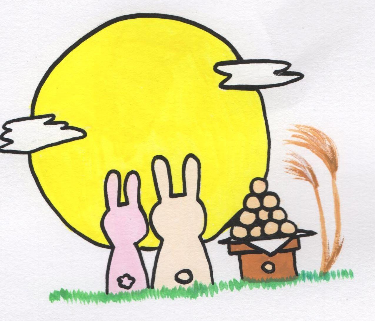 お月見月うさぎダンゴのイラスト 手書きの無料イラストとフリー