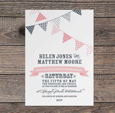 bunting wedding invitation by project pretty