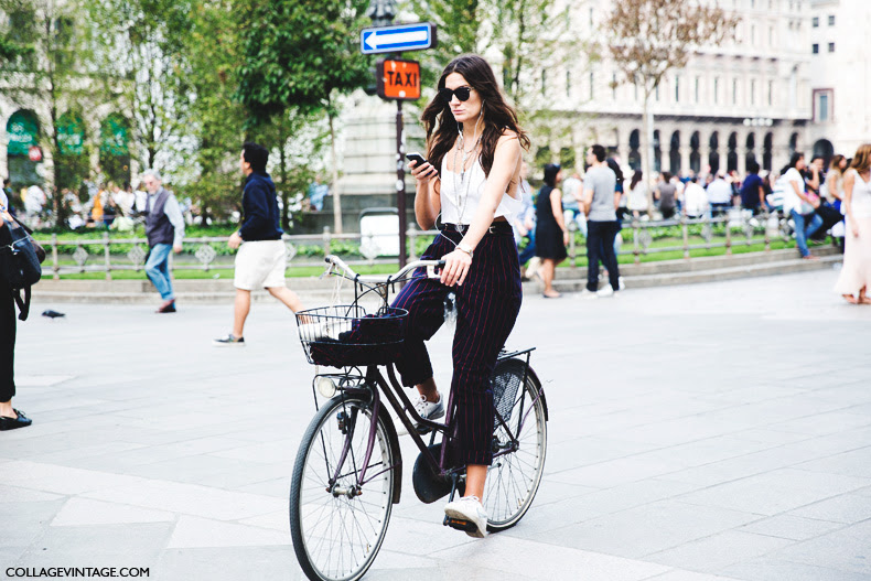 Milan_Fashion_Week_Spring_Summer_15-MFW-Street_Style-Striped_Trousers-Nike_Sneakers-Bike-1