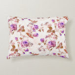Purple Gold Roses Accent Pillow