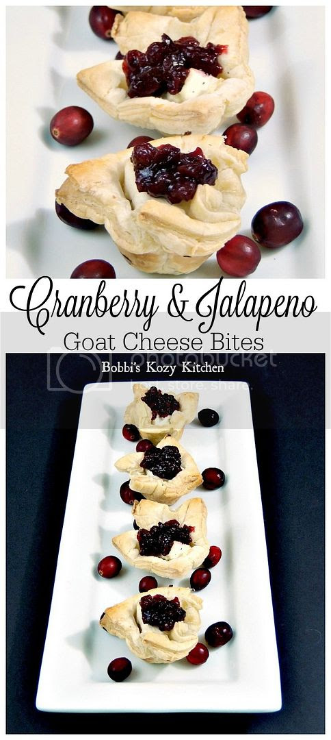 Mini puff pastry cups filled with creamy goat cheese, and topped with cranberry jalapeno relish from www.bobbiskozykitchen.com