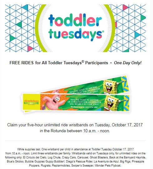Free Nickelodeon Universe 5-Hour Ride Wristbands for Toddler Tuesday on October 17 - Twin Cities Frugal Mom
