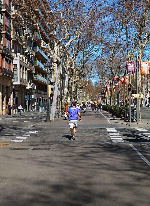 Jogger in Gran Via de les Corts, Barcelona [enlarge]