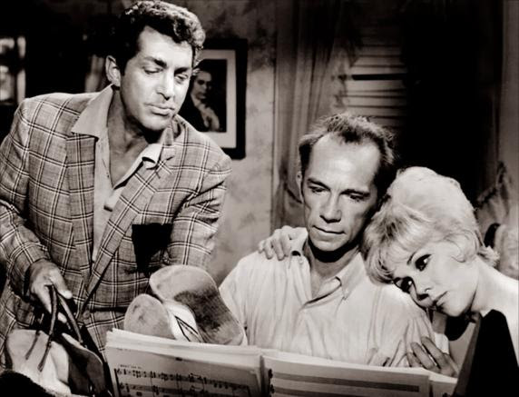 Dean Martin, Ray Walston and Kim Novak in a scene from 'Kissing a Fool' by Billy Wilder