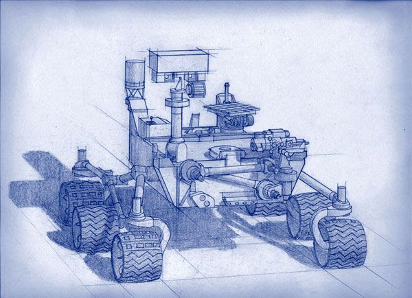 An artist's sketch of NASA's Mars 2020 rover.