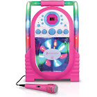 The Singing Machine Portable Karaoke System with LED Disco Lights and Wired Microphone - Pink