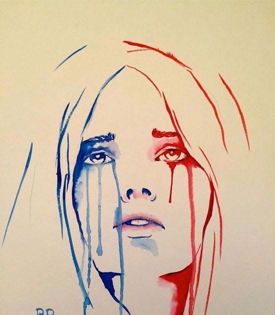 رسم بالرصاص بكاء