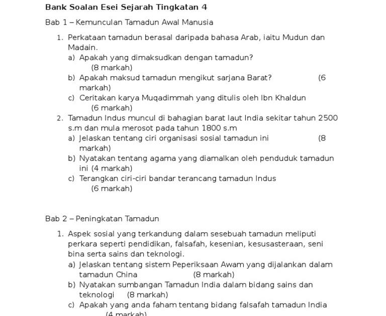 Soalan Esei Sejarah Tingkatan 2 Bab 2 Selangor S