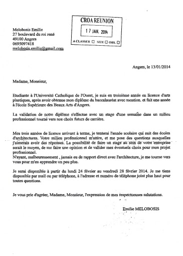 Lettre Demande D 39 Emploi Architecte Employment Application