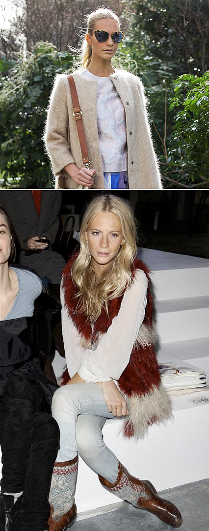 POPPY DELEVIGNE LOOKS FASHON WEEK STREET STYLE LONDON FASHION WEEK MIU MIU SUNGLASSES FRONT ROW RED WHITE MONGOLIAN FUR VEST GILET NATIVE PRINT LEATHER BOOTS EMBROIDERED LONG WAVY BLONDE HAIR PHOTOS- MUJER.ES AND LEE OLIVEIRA1