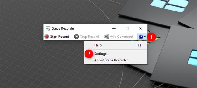 Configuración de la grabadora de pasos