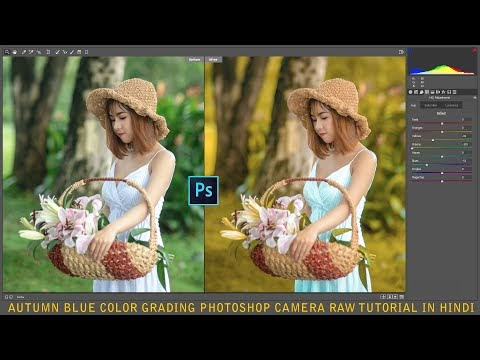 Autumn Blue color grading Photoshop camera Raw tutorial in Hindi