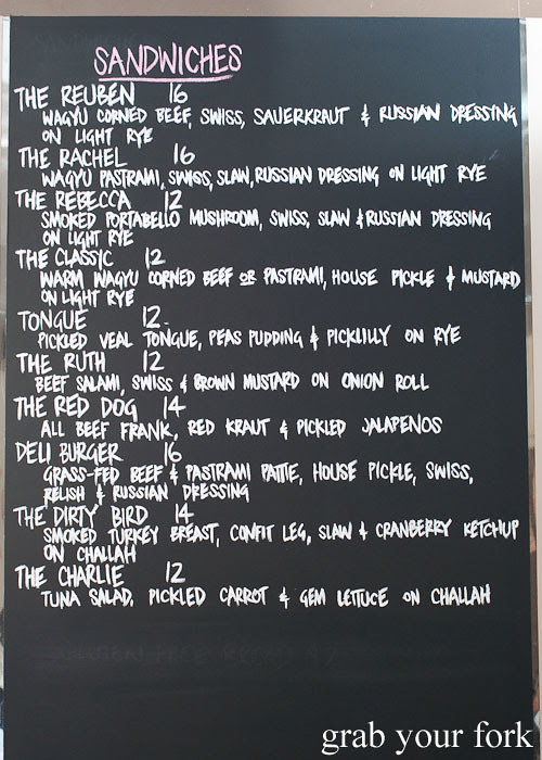 Sandwich menu at Ruby and Rach, Strattons Hotel Sydney