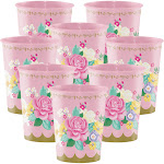 BirthdayExpress Floral Tea Party Supplies 16oz Plastic Favor Cup (8)