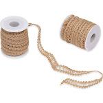 Burlap Ribbon Trim Roll - 2-Pack 10-Yard x 0.6 Inch Brown Ribbon Trim for DIY Arts and Crafts, Sewing, Wedding Decorations