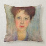 Portrait of Gertha Fersovanyi (detail) by Klimt throwpillow