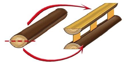 Наиболее простой вариант балки из бревен и тонкомерной древесины