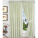 "Ellis Curtain Davins 100 Percent High Quality 2-Piece Window Rod Pocket Panel Pairs With 2 Tie Backs - 90x84"" - 90"" x 84"" SPA"
