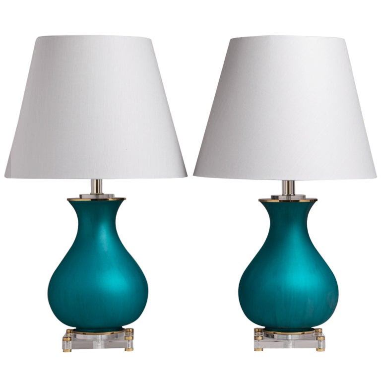 An Unusual Pair of Teal Glass and Lucite Table Lamps 1960s at 1stdibs