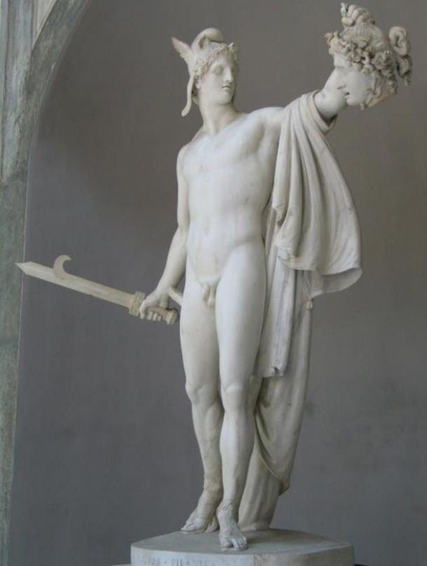 Perseus holds the head of Medusa in an 1801 sculpture by Antonio Canova.