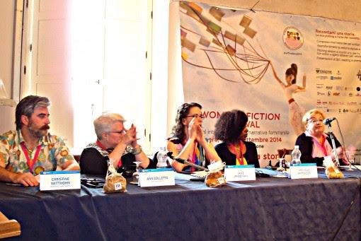 From left, David Gaughran, Ann Colette, Jane Friedman, Monique Patterson of St Martin's Press, Elizabeth Jennings