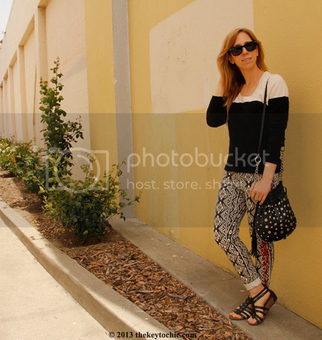 Merona colorblock sweater, Forever 21 embroidered tribal print jeans, Naturalizer gladiator sandals, L.A. personal style blog, L.A. fashion blogger
