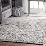 "nuLOOM Silver Flatweave Chevron Striped Indoor/ Outdoor Patio Area Rug 7' 6"" x 9' 6"" Contains Latex 8' x 10' Rectangle Casual"