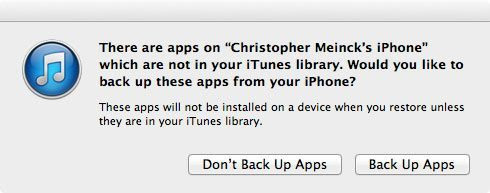 apps not synced iTunes
