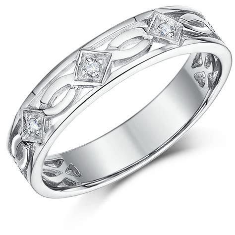 5mm 9ct White Gold Celtic Diamond Wedding Ring   9ct White