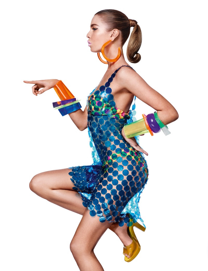 Stella Maxwell models blue dress from Jeremy Scott