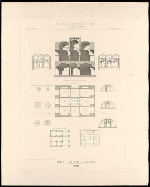 Grabados de La Mezquita de Tornerías de José Amador de los Ríos publicados en 1879 en Monumentos Arquitectónicos de España