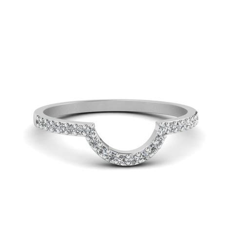 Curved Diamond Wedding Ring For Women In 14K White Gold