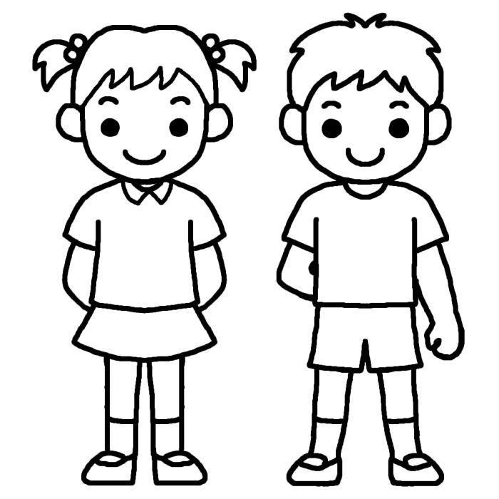 男の子女の子白黒友達の無料イラスト子ども幼児人物素材