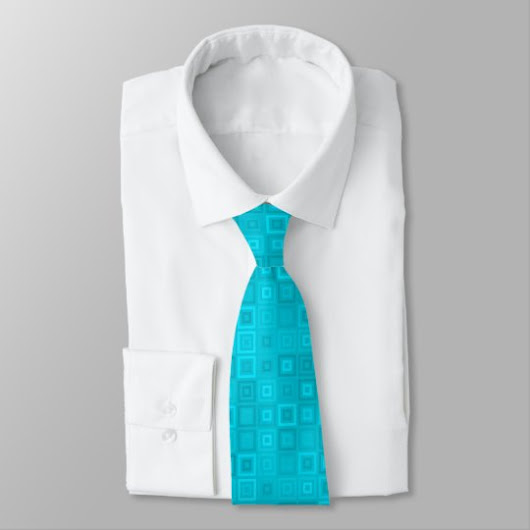 Teal blue-green concentric squares pattern neck tie