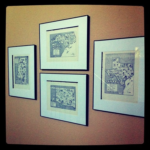 Maps are hung! Filling a v. awkward wall space!